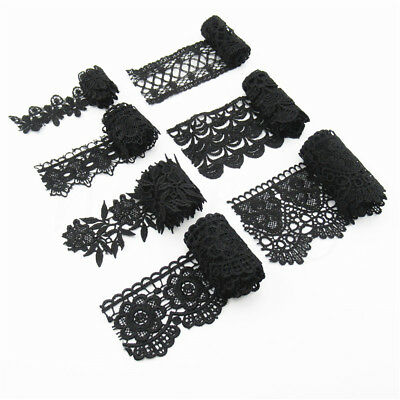 1 Yard Black Embroidered Lace Trim  Fabric Applique Sewing Weeding Dress Crafts