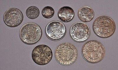 Nice Lot of Silver Coins from Canada and the UK - Early to Mid-20th Century