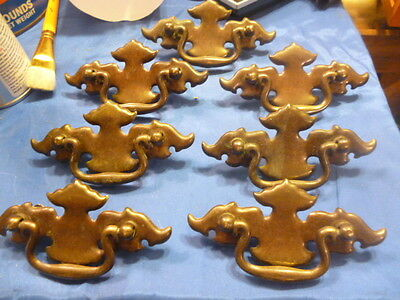 "7 Vintage Steel Drawer Pulls Dresser Knobs Set Ornate Metal Used 2 3/4"" centers"