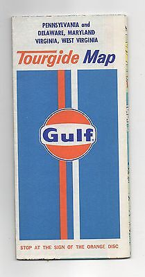 Vintage 1974 Gulf Tourgide Map of Pennslvania and Delaware, Maryland, Virginia