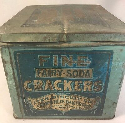 Vintage Antique Iten Biscuit Fairy Soda Crackers Metal Tin Box Advertising Store