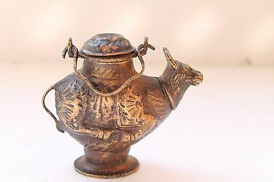 Antique Old Handcrafted Copper Hindu Idol Nandi Cow Shape Holy Water Pot NH3107