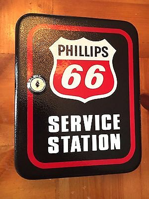 Phillips 66 Keys Service Station Lock Box Steel Key Cabinet Gas Pump Oil Garage