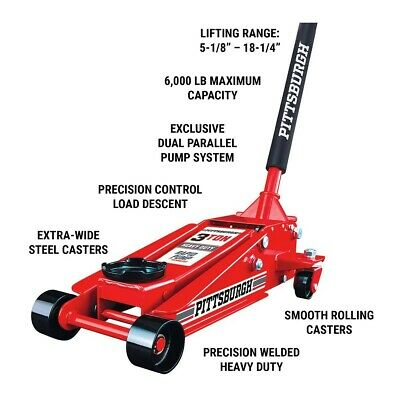 3 ton Steel Heavy Duty Floor Jack with Rapid Pump  lifts with just  3-1/2 pumps