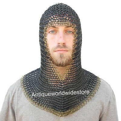 Armor Medieval V Brass Face Mild Steel Black Chainmail Coif