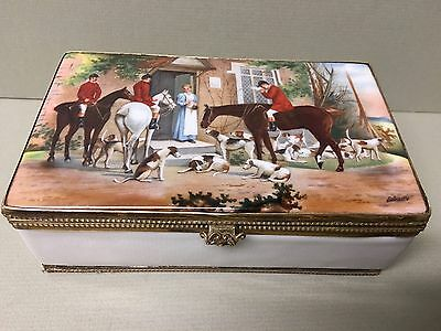 Antique Hand Painted CZECH Porcelain CIGARETTE/TRINKET Box-After The Hunt Scene!