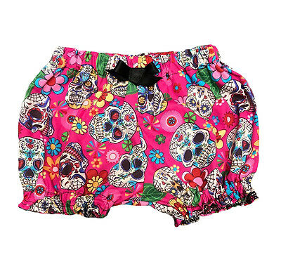 Pink Floral Sugar Skull Print Baby Girl Bloomers, Punk, Goth, Metal, Rockabilly