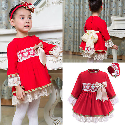 Baby Infant Dress and Bonnet Set Toddler Girls Party Pageant Communion Christmas