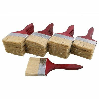 20pcs Red Wood Handle Chip Bristles Brush Oil Paint Brushes 3.5 Inch