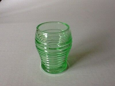 """Depression Glass McKee Lifesaver 2 3/4"""" Green Shot Glass (5 available)"""