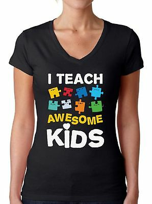 Autism V-neck T shirts Shirts Tops  Women's I Teach Awesome Kids Puzzle