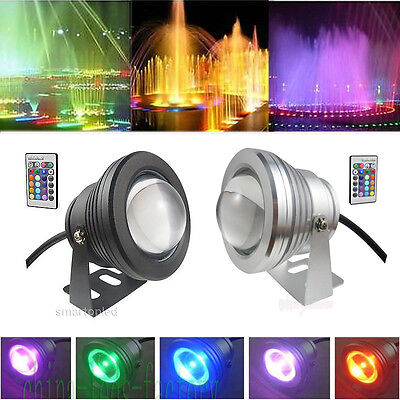 10W RGB LED Underwater Spot Light Car Motorcycle Garden Pool Lamp 12V Waterproof