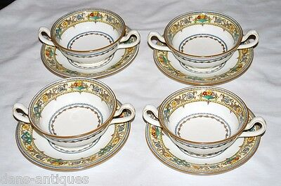 MINTON Plymouth China - 4 cream soup bowls and saucers