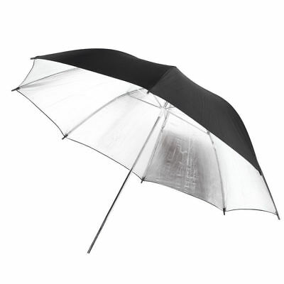 "Studio Flash Light Reflector Black Silver Soft Diffuser 33""/83cm Umbrella UK"