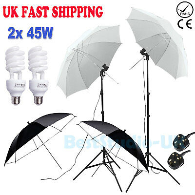 Photography Studio 450W Continuous Lighting Kit Soft White Black Umbrellas Set