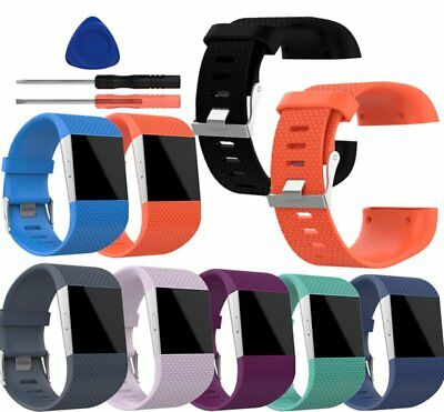 Silicone Rubber Sport Wristband Watch Band Strap Bracelet +Tool For Fitbit Surge