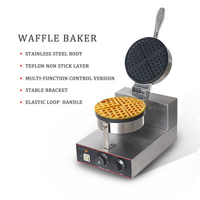 ITOP Electric Non-Stick Single Waffle CE Maker SS Iron grill Machine UK in stock
