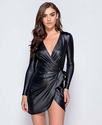 Womens Ladies Wet Look V Neck Wrap Over Evening Short Mini Bodycon Party Dress