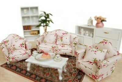 Doll house 3 piece sofa set 1:12 scale