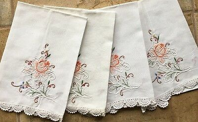 Vintage Hand Embroidered Cloths with cutwork & Hand Crocheted Lace Edge Set of 4