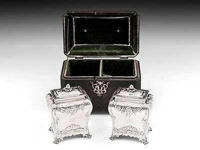 Antique Shagreen Hide & Sterling Silver Tea Caddy Chest 1792 18th century
