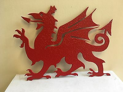 Extra Large steel welsh dragon sign weathervane gates or plaque house name plate