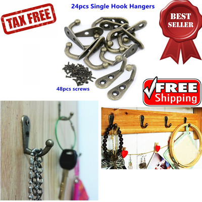 Vintage Rustic Coat Hat Jewelry Keys Hook Hanger Wall Mounted Rack & Screw 24Pcs