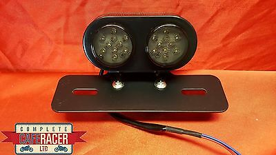 (L6b) CAFE RACER REAR TWIN ROUND SMOKED LIGHT & NUMBER PLATE BRACKET & LIGHTS