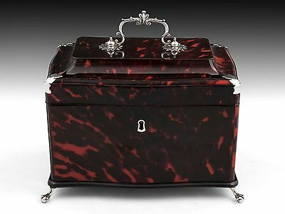 Faux Tortoiseshell & Silver Antique Tea Caddy Chest Box Circa: 1775