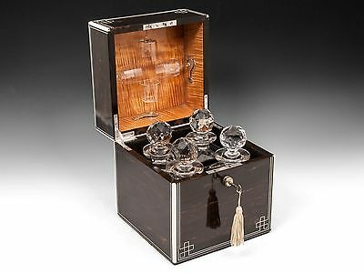 Antique Wooden Coromandel & Satinwood Decanter Drinks Box by Thornhill 1900