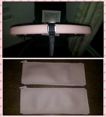 Bugaboo Cameleon 1 2 3 faux leather zip on handle bar covers in SOFT PINK