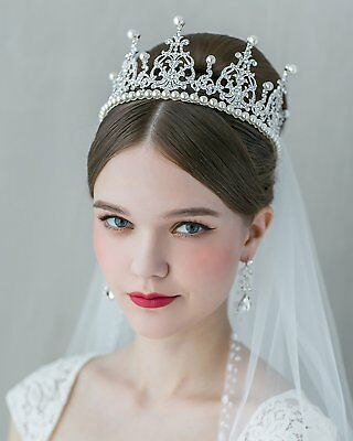 SWEETV Royal Rhinestone Tiaras Crowns Pearl Bridal Jewelry Wedding Hair Decor