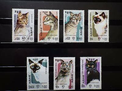 7x timbres stamps R.P. KAMPUCHEA  Used Obliterés CHATS CATS CAMBODGE