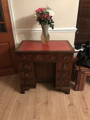 Antique Captains Type Mahogany Writing Desk, Red Leather