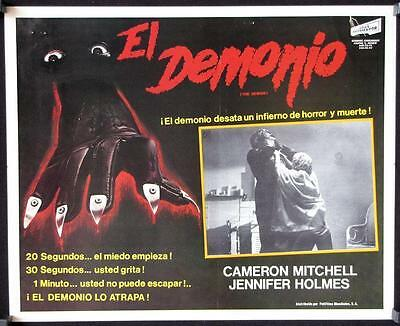 L502  THE DEMON Mexican Lobby Card, cool horror art of hand with razor nails,