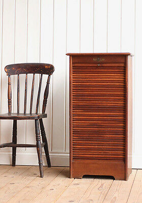 Vintage Antique French Wooden Tambour Filing Cabinet