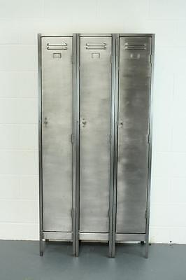 VINTAGE INDUSTRIAL STRIPPED METAL 3 COLUMN CABINET CHEST LOCKER SHELVES #1541c