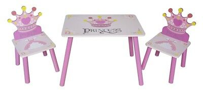 Kids Wooden Table And Chair Set Girls Princess Home Playroom Nursery Play Pink