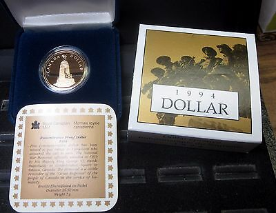 1994 Canada $1 Proof Dollar ✪ Original Box & Coa ✪ Canadian Remembrance◢Trusted◣