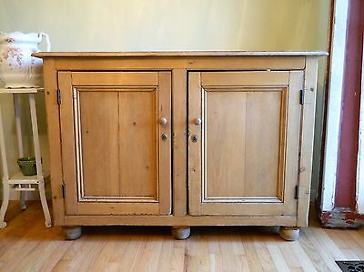 Vintage English Pine Buffet Sideboard Cabinet
