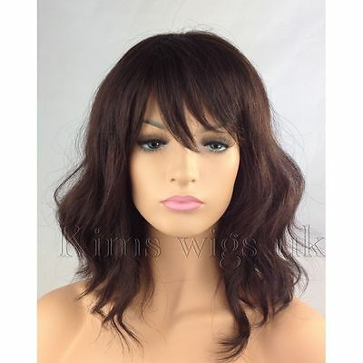 Dark Auburn Brown, Lilac/silver Mix Ladies Women Shoulder Length Wavy Bob Wig
