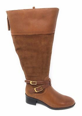 459a3590365d Franco Sarto Womens Lapis Wide Calf Knee High Boot Brandy Leather Size 5 M  US