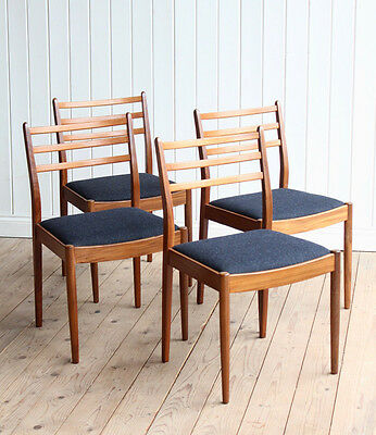 Vintage Retro G-Plan Set of 4 Newly Upholstered Teak Dining Chairs Mid Century