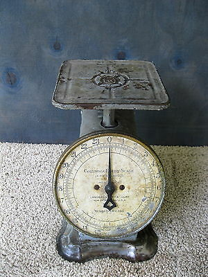 Antique Scale COLUMBIA Family Household LANDERS FRARY CLARK Vintage Gray Paint