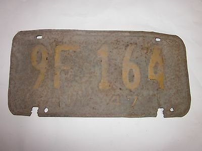 1947 New York State issued license plate # 9F-164