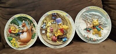 DISNEY WINNIE THE POOH BRADFORD EXCHANGE 3D COLLECT PLATE Set of 3 woozle tumbly