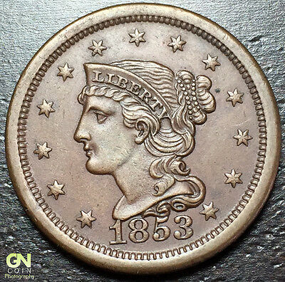 1853 Braided Hair Large Cent --  MAKE US AN OFFER!  #Y8207