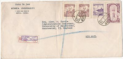 Korea Registered Cover Seoul To Manchester 1955 4 Stamps