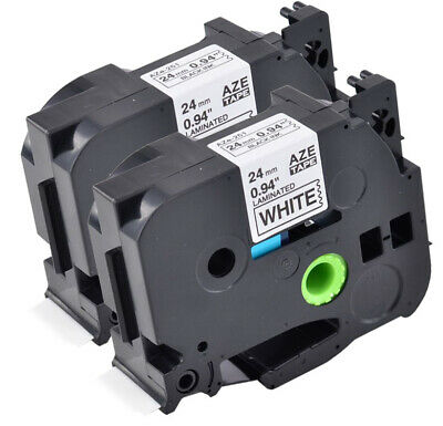 2 PK 24mm 1'' Tz 251 TZe251 Black on White Label Tape For Brother P-touch PT2730