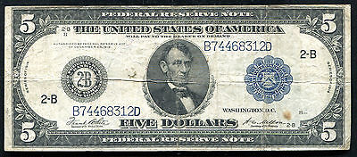 "FR. 851c 1914 $5 FRN FEDERAL RESERVE NOTE NEW YORK, NY ""TYPE C"" VF"